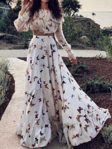 Butterfly print bohemian dress with two pieces