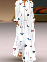 Load image into Gallery viewer, Ladies Fashion Butterfly Print Long Sleeve Dress