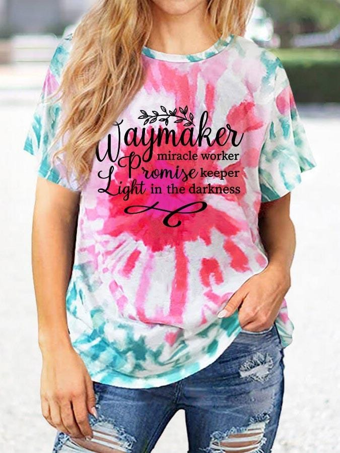 Women's Way Maker Miracle Worker Promise Keeper Light In The Darkness Tie-Dye Short Sleeved T-Shirt