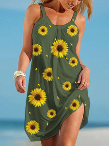 Women's Sunflower Print Beach Dress