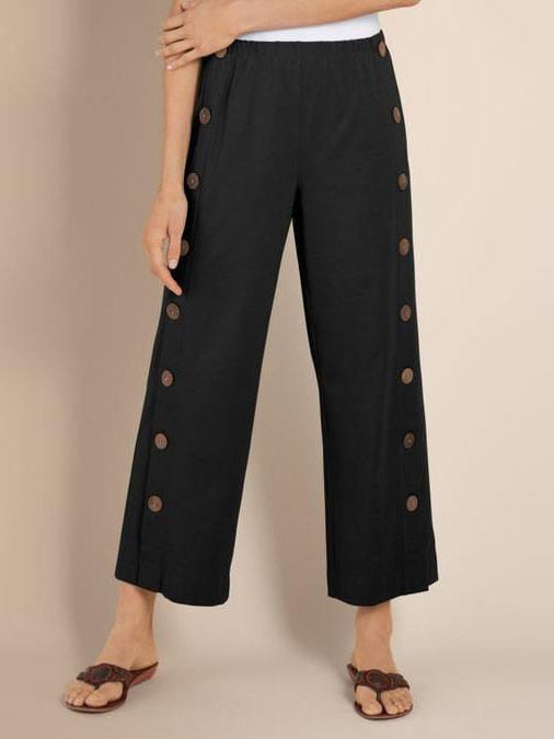 Women's Double-breasted Cotton And Linen Casual Cropped Pants