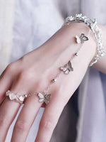 Load image into Gallery viewer, Butterfly Chain Ring Open Bracelet