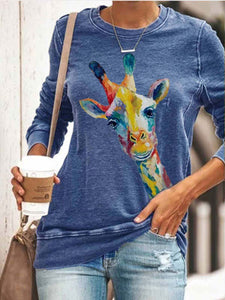 Women's Cute Painted Giraffe Sweatshirt