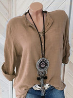 Load image into Gallery viewer, Ladies cotton and linen V-neck pocket shirt