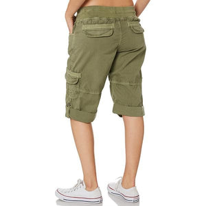 Women's Elastic Waist Adjustable Hemline Cargo Short