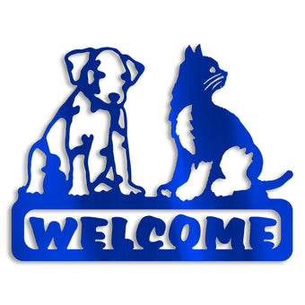 Cat Dog Welcome Sign