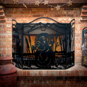 Decorative Hunting Lab 3-Panel Steel Fireplace Screen