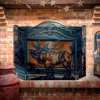 Decorative Elk 3-Panel Steel Fireplace Screen