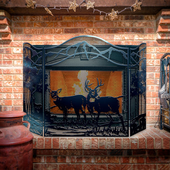 Decorative Deer 3-Panel Steel Fireplace Screen