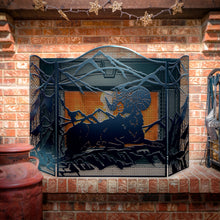 Decorative Ram 3-Panel Steel Fireplace Screen