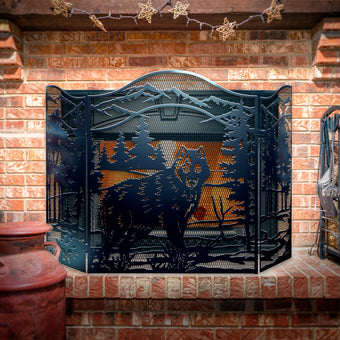 Decorative Wolf 3-Panel Steel Fireplace Screen