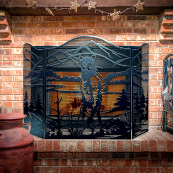 Decorative Standing Bear 3-Panel Steel Fireplace Screen