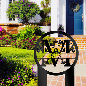 Yard Sign Monogram with House Number