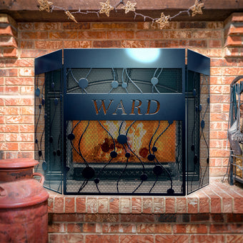 Custom Modern Flow 3-Panel Steel Fireplace Screen