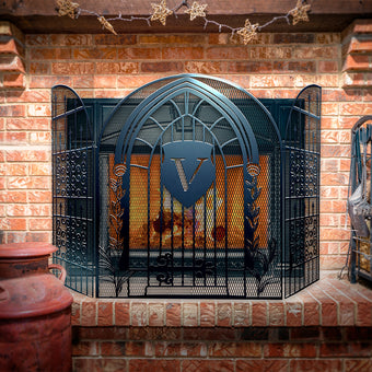 Custom Steel Gate 3-Panel Steel Fireplace Screen