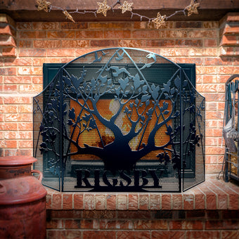 Custom Family Tree 3-Panel Steel Fireplace Screen