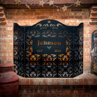 Custom Fleur De Lis 3-Panel Steel Fireplace Screen
