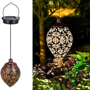Hanging Solar Lights Wrought Iron Hollow Outdoor LED Light