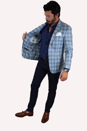 Feraud Loro Piana Wool and Silk Check Jacket