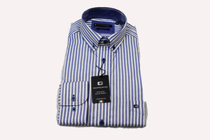 Giordano Regular Fit Blue and Yellow Stripe