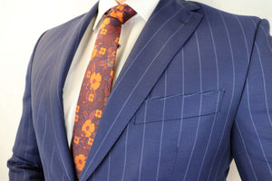 Feraud 130 Wool Hand Finished Broad Pinstripe Blue Suit