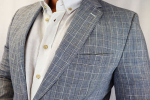 Feraud Wool & Linen Light Grey Check Jacket