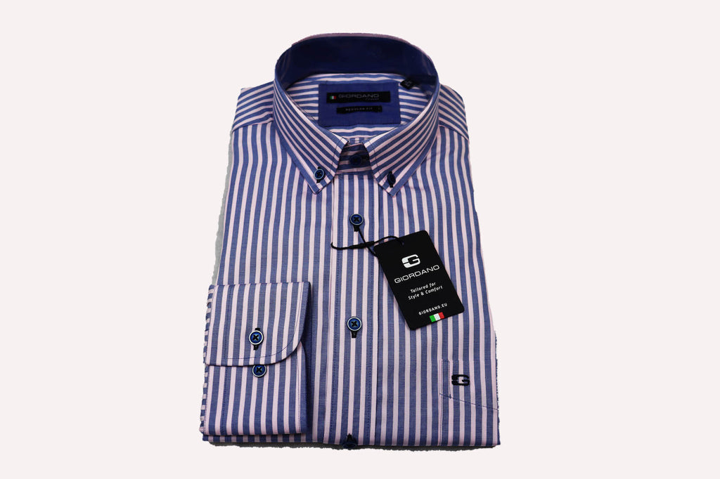 Giordano Regular Fit Shirt Pink and Navy Stripe
