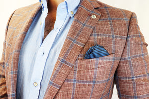 Feraud Soft Red Check Wool and Silk Loro Piana Jacket