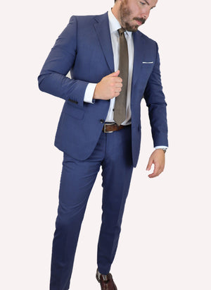Feraud Gingham Blue Fine Wool Suit