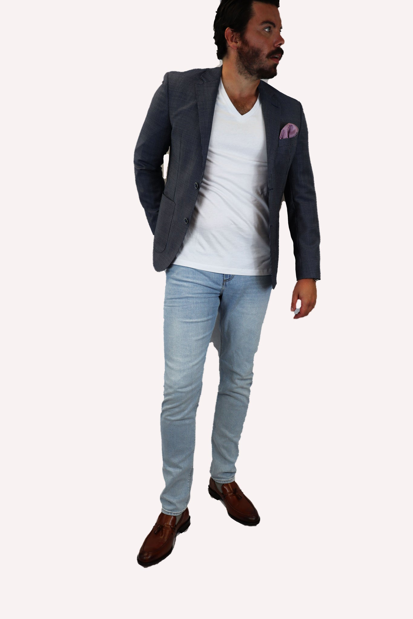 Feraud Unstructured Casual Birdseye Mid-Blue Jacket