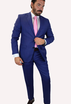 Feraud Reda Royal Blue Check Super 130s Half Canvassed Fine Wool Suit