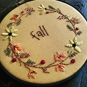 Fall Hoop Embroidery Kit & Pattern