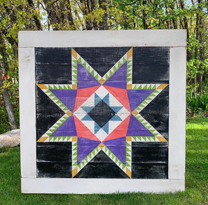 Framed Over Feathered Star Barn Quilt