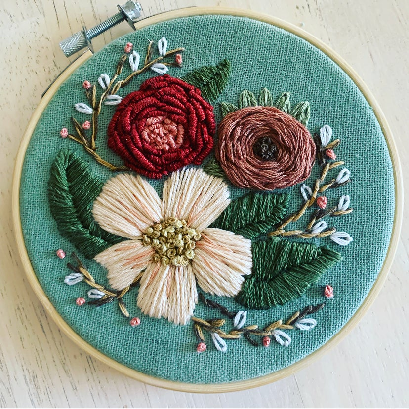 Frosted Rose Hoop Art Kit