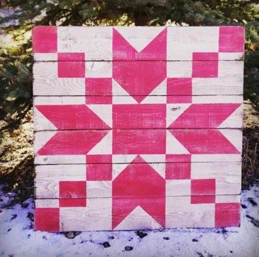 Red and White Star Barn Quilt