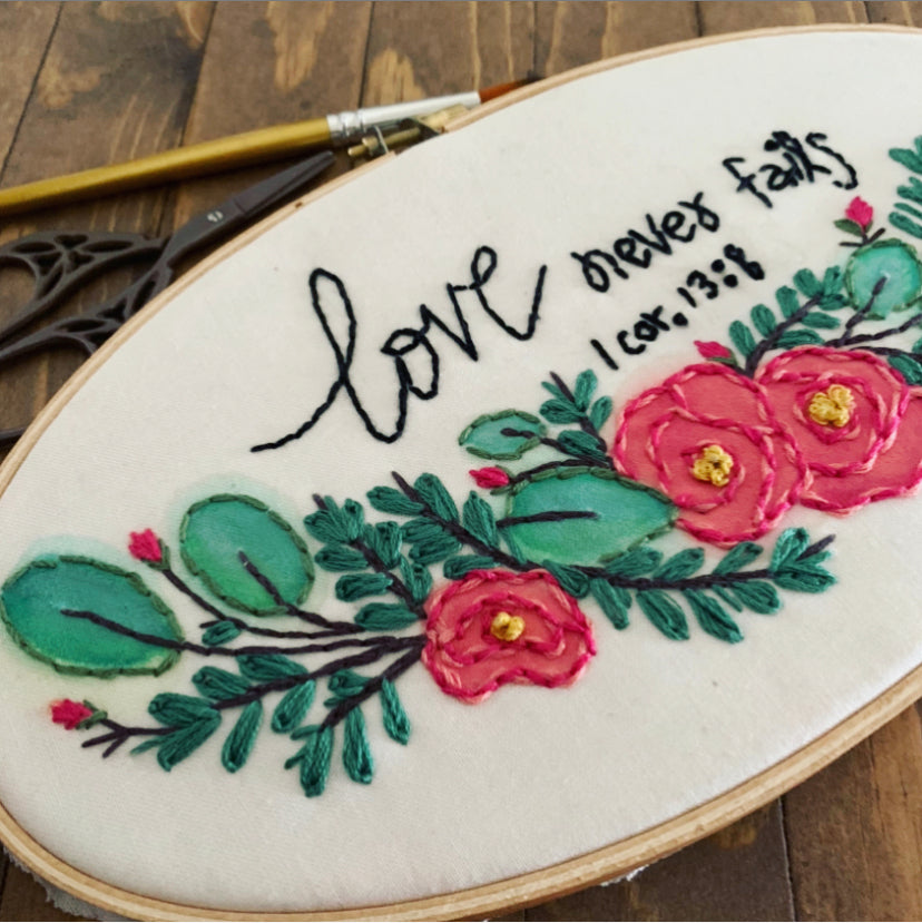 Love Never Fails Watercolor Embroidery Kit