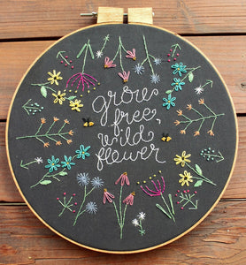 Grow Free Wildflower Hoop-Art Embroidery Kit & Sampler