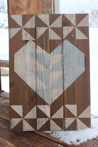 Lovey Heart Barn Quilt -Grey & White