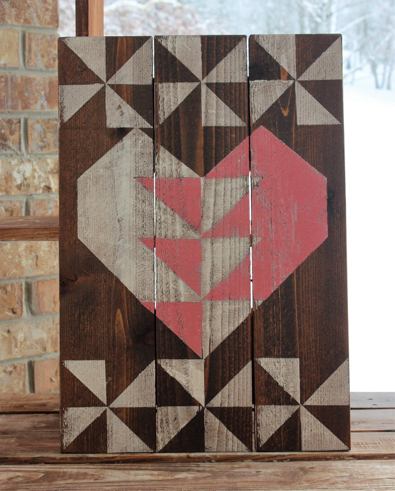 Lovey Heart Barn Quilt - Pink & White