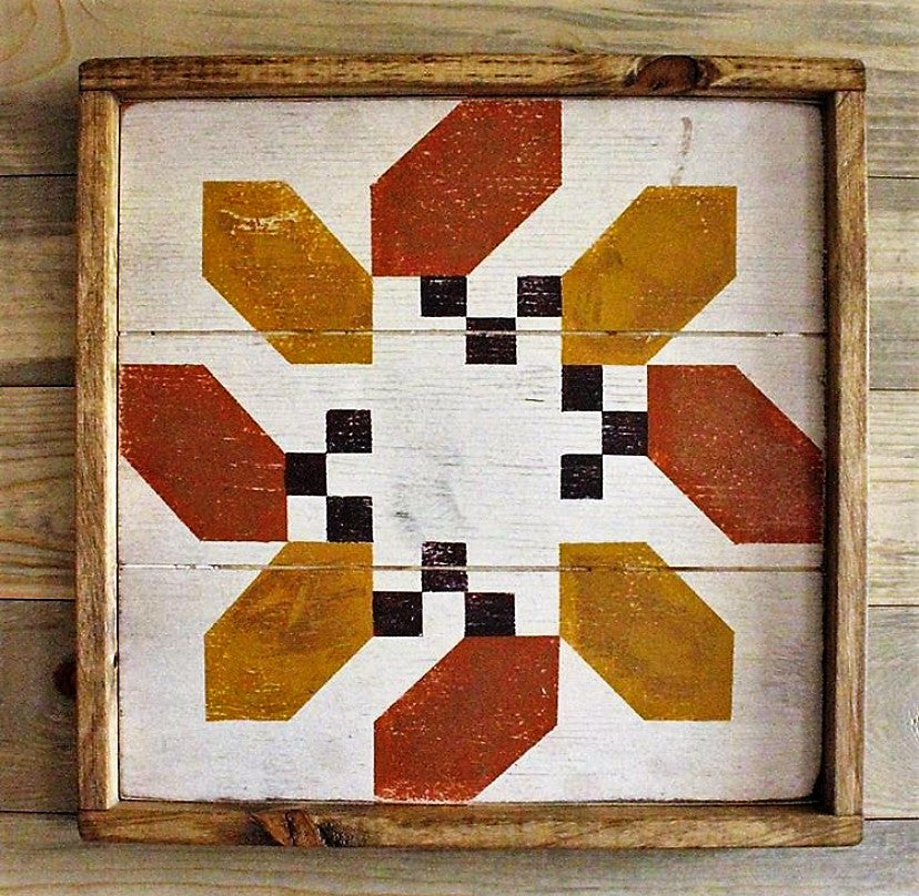 Oak & Acorn Barn Quilt - White