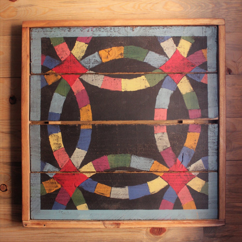 Framed Over Double Wedding Ring Barn Quilt