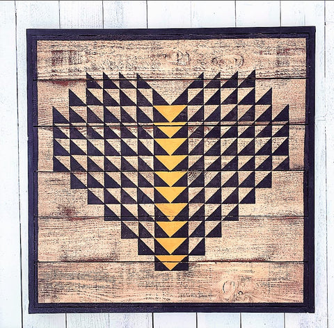 Flying Geese Heart Barn Quilt