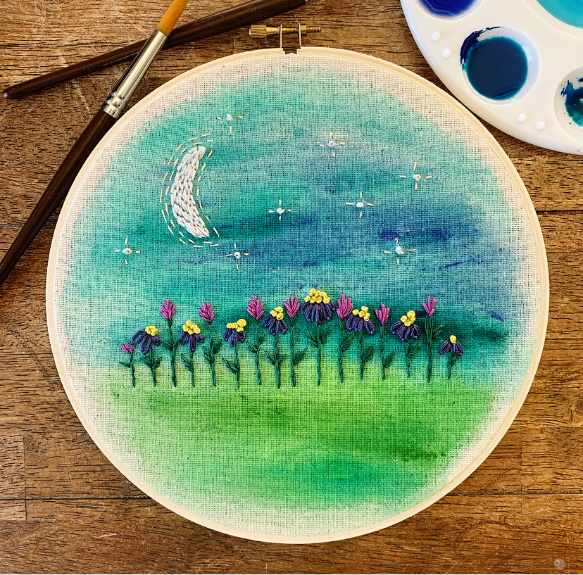 Midnight Garden Watercolor Embroidery Kit
