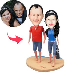 UK Sales-Couple On The Beach Custom Bobblehead