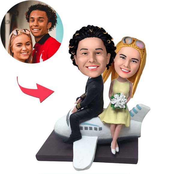 UK Sales-Couple On A Plane Custom Bobblehead