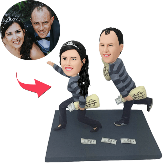 UK Sales-Funny Robbers Couple Custom Bobblehead