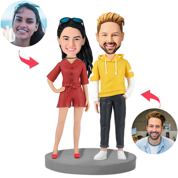 UK Sales-Fashion Couple In Casual Wear Custom Bobblehead