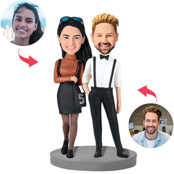 UK Sales-Modern Couple In Formal Wear Custom Bobblehead