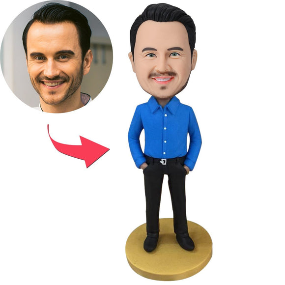 UK Sales-Man Dressed In Business Casual Custom Bobblehead