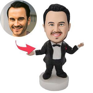 UK Sales-Man In Suit and Bowtie Custom Bobblehead